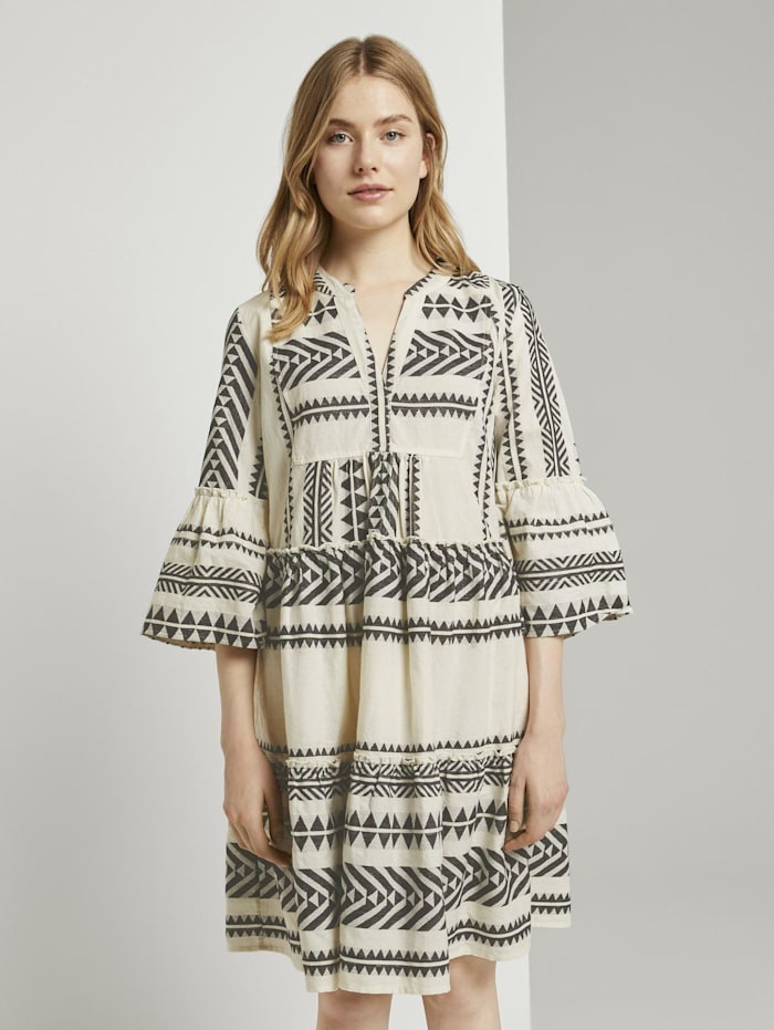Tom Tailor Luftiges Boho-Kleid mit Volants, white black large ikat design