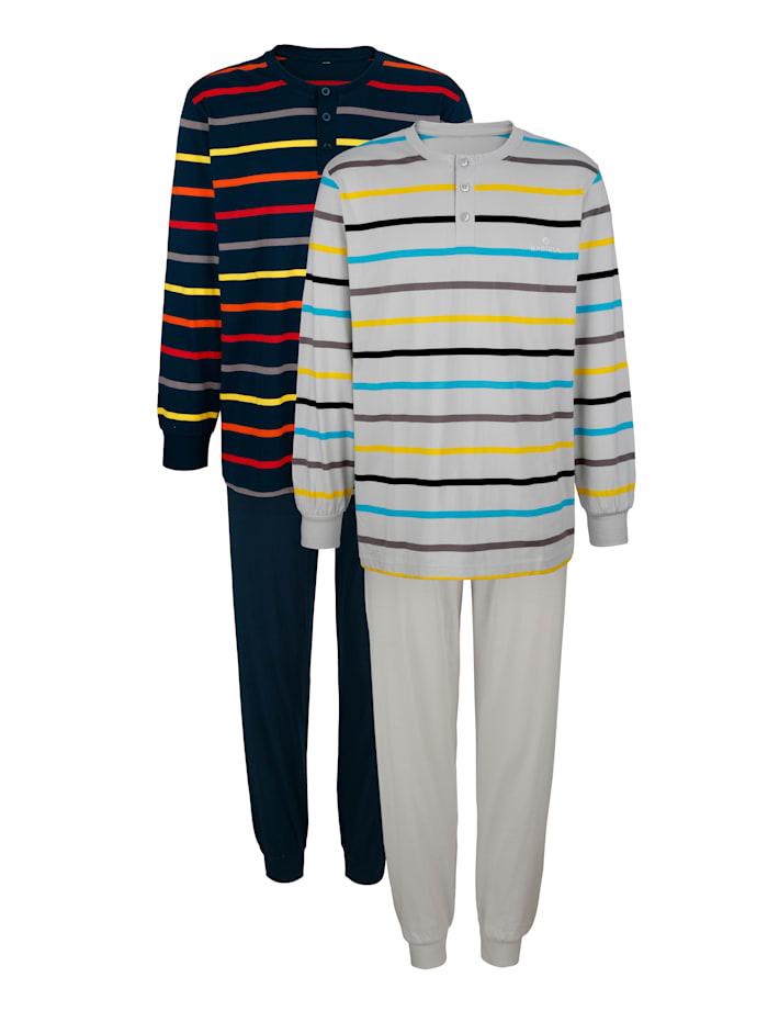 BABISTA Pyjamas à motif rayé tissé teint, Marine/Gris