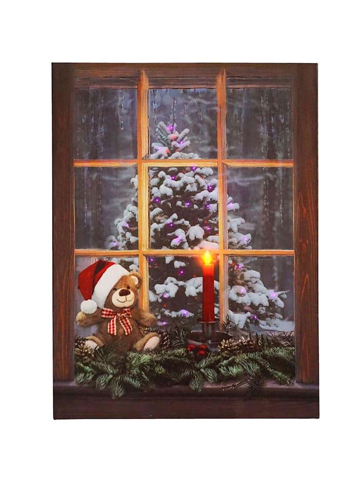 Wandbild 'Weihnachtsbaum' mit Beleuchtung, bunt