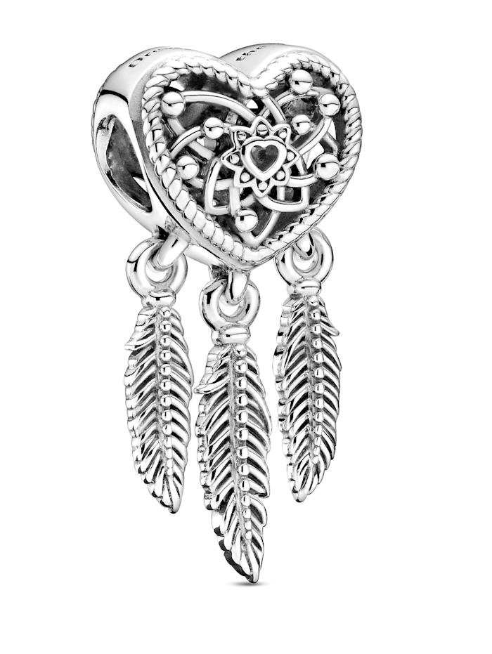 Pandora Charm - Offen gearbeitetes Herz & zwei Federn Traumfänger - 789068C00, Silberfarben