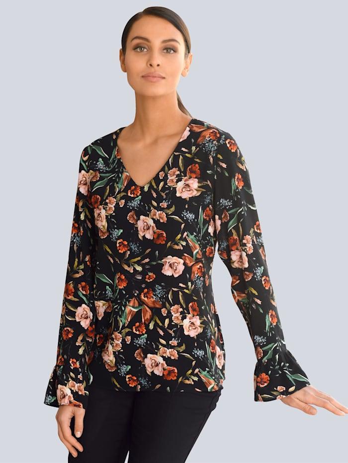 Alba Moda Bluse im floralen Look, Schwarz/Orange