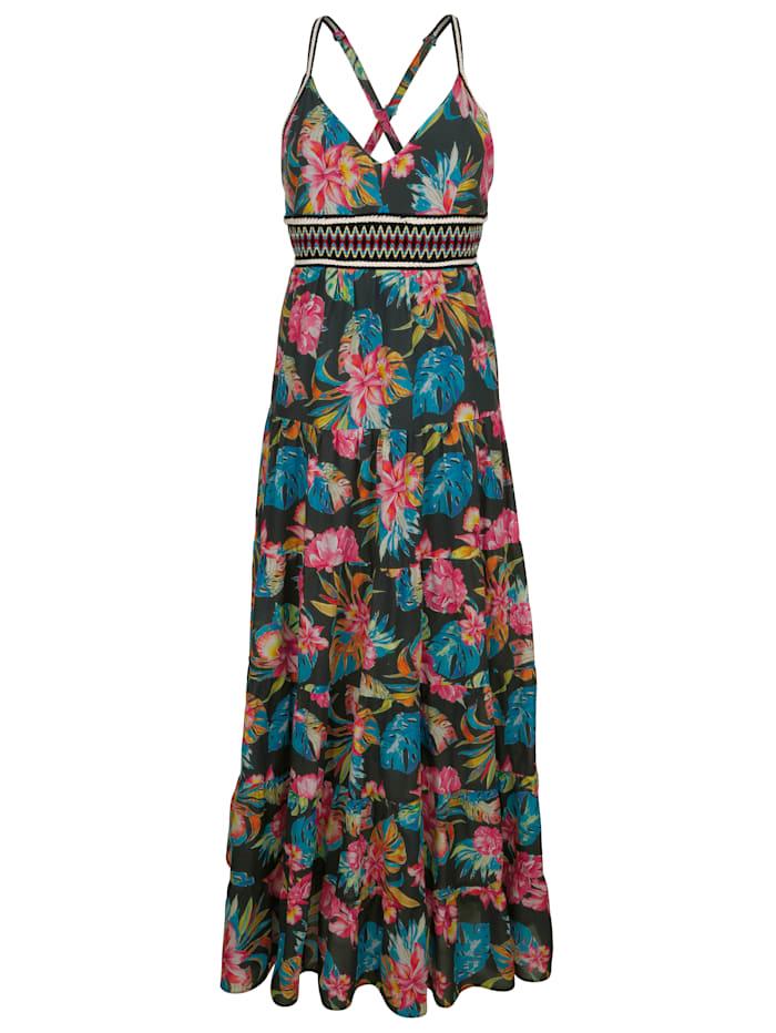 Alba Moda Strandkleid mit besticktem Zierband, Blau-Bunt