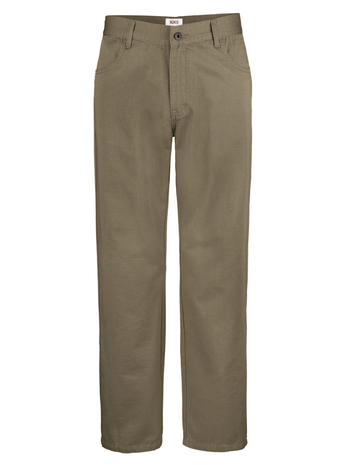 Roger Kent Pantalon à poches dos passepoilées, Kaki