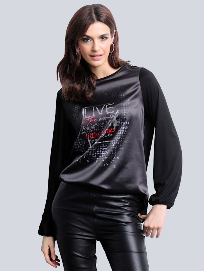 Alba Moda Shirt mit exklusivem Dessin von Alba Moda, Schwarz/Rot