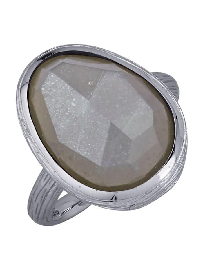 Gemondo Damesring met grijze maansteen, Grijs