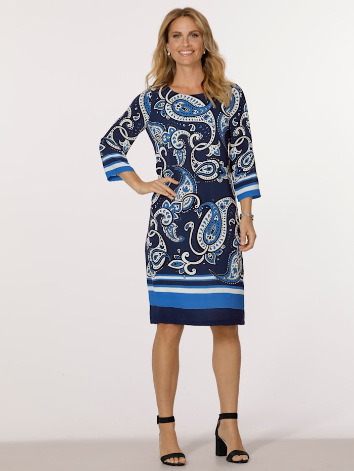 MONA Dress with a placed paisley print, Blue/Ecru