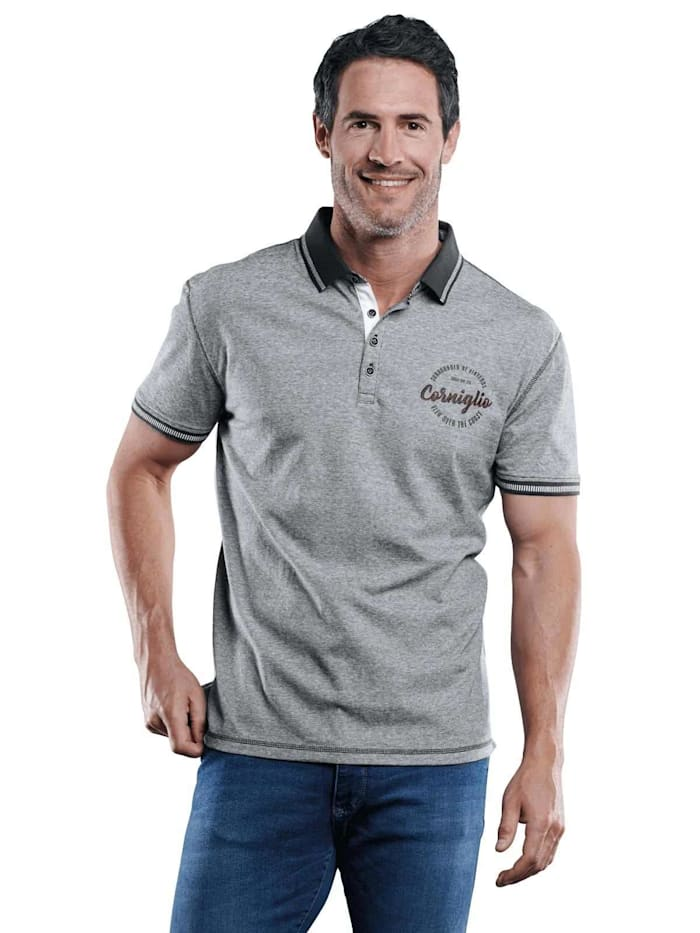 Engbers Sportives Poloshirt mit Badge, Indigoblau