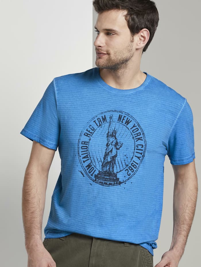 Tom Tailor Gestreiftes T-Shirt mit NYC-Print, Electric Teal Blue