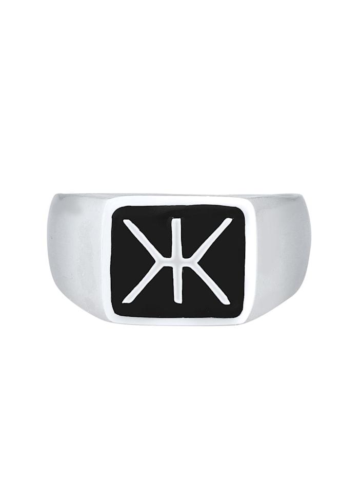 Ring Herren Siegelring Emaille Logo Basic 925 Silber