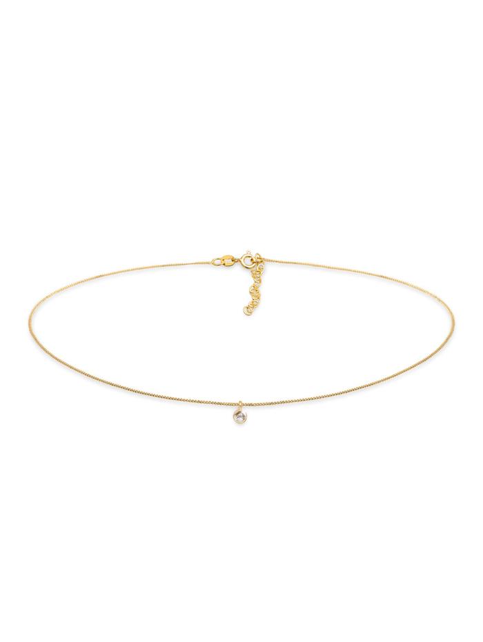 Elli Halskette Choker Turmalinquarz Solitär Anhänger 925 Silber, Gold