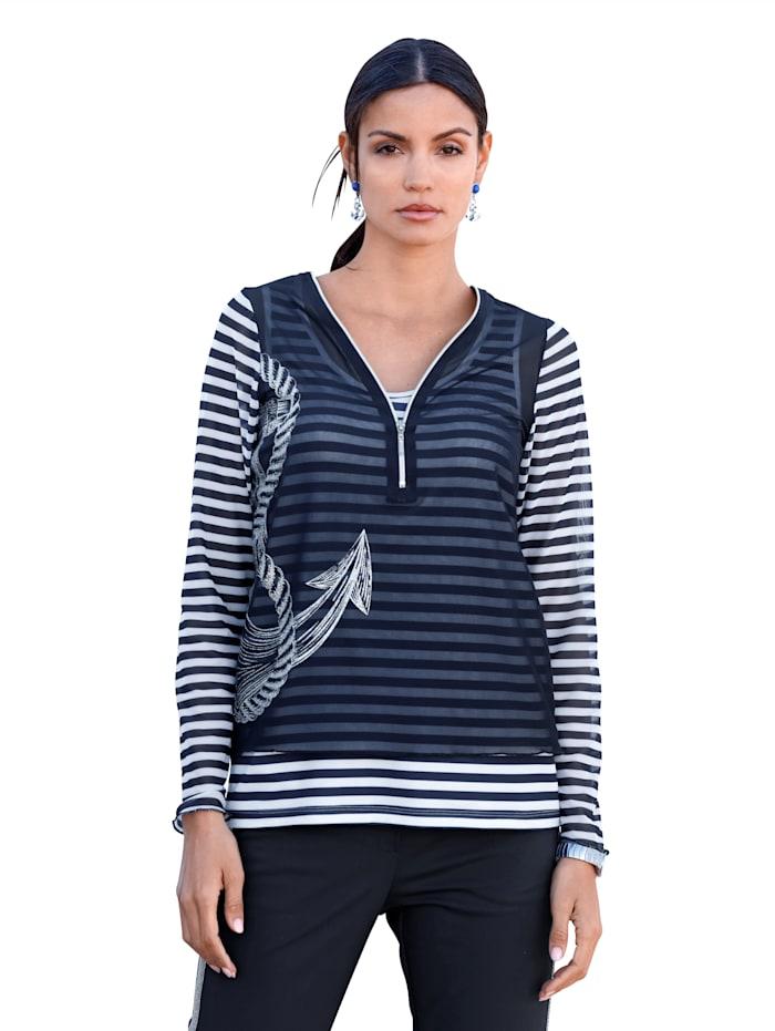 AMY VERMONT Shirt mit Glitzersteinchen, Marineblau/Weiß