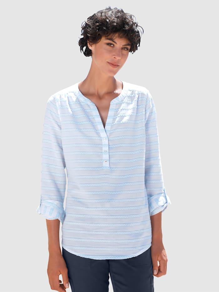 Dress In Bluse mit schöner Struktur, Hellblau/Weiß