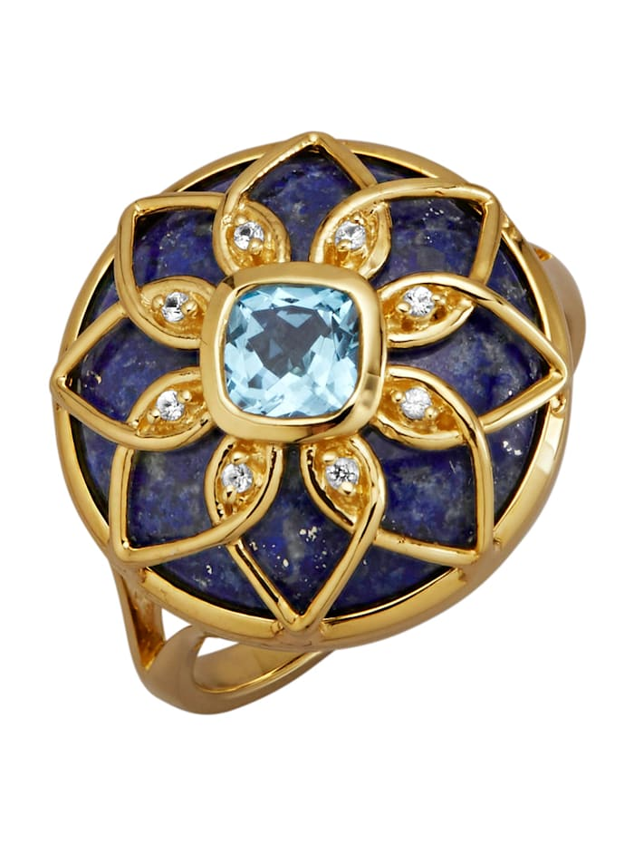 Diemer Farbstein Damesring met gekleurde steentjes, Blauw