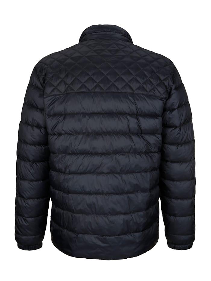 Gewatteerde jas met ruitenstiksels op de schouders