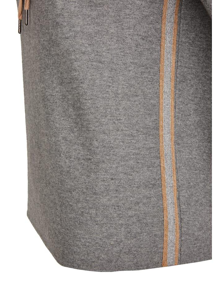 Pullover mit melierter Optik und Tunnelzugbändchen