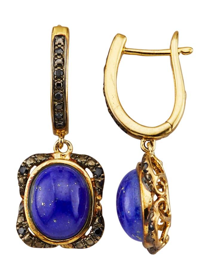 Boucles d'oreilles avec lapis-lazulis et zirconia, Bleu