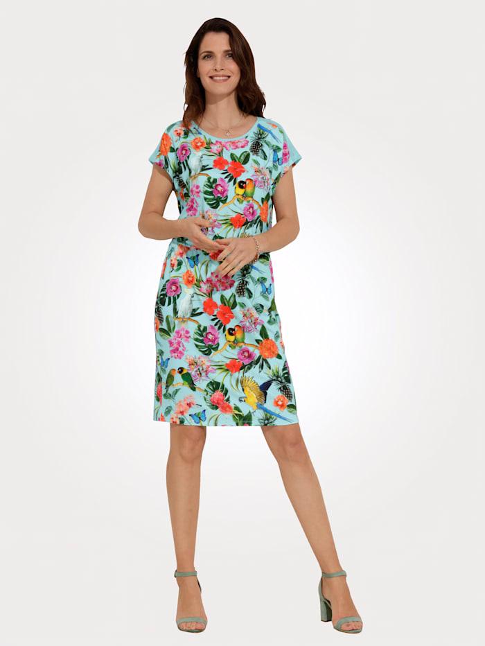 MONA Jerseykleid mit Netz-Einsätzen, Türkis/Multicolor