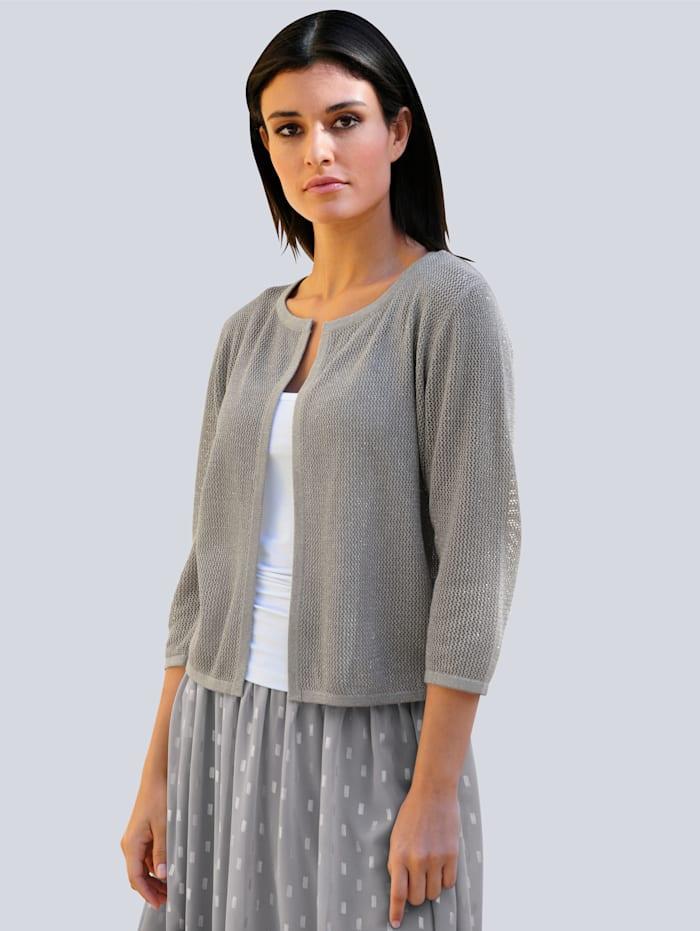 Alba Moda Strickjacke mit Glanzgarn, Grau/Silberfarben
