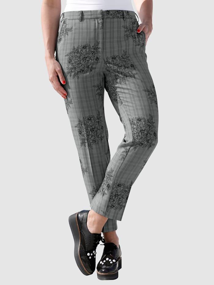 MIAMODA Hose mit gepflegten Bügelfalten, Grau/Schwarz