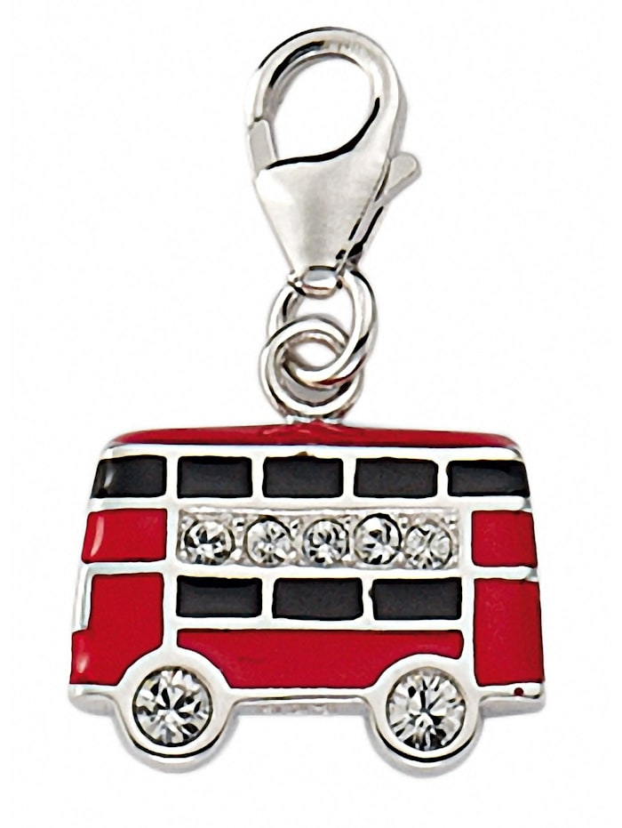 1001 Diamonds Damen Silberschmuck 925 Silber Charms Anhänger Bus mit Zirkonia, silber