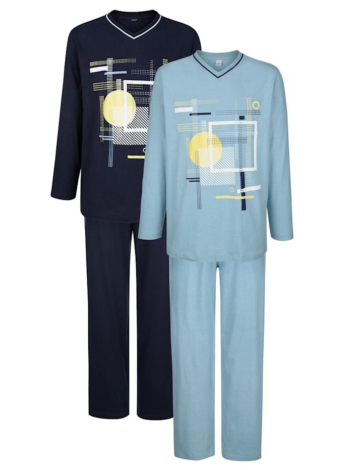 "G Gregory Pyjamas par lot de 2 en coton issu de l'initiative ""Cotton made in Africa"", Marine/Bleu ciel"