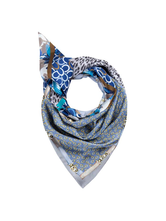 Codello Großes Dreieckstuch aus reiner Seide mit Logo-Print, jeans blue