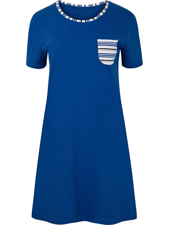Cybèle Damen Langarm Nachthemd, blau-bunt