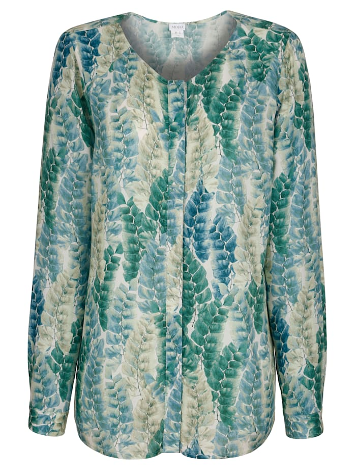 Blouse with a light leaf print