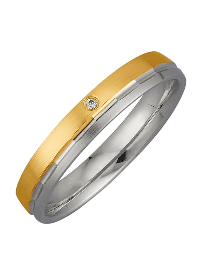 Harmony Trauring mit Diamant, Gelbgoldfarben/Weißgoldfarben