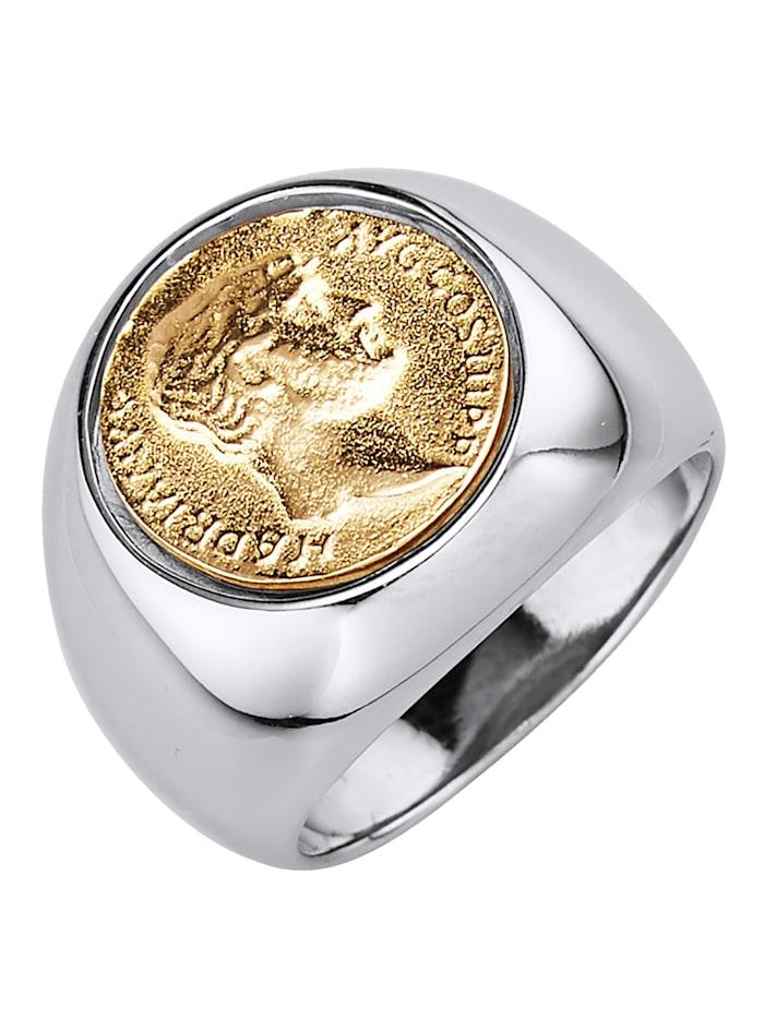 Diemer Gold Herrenring mit Münze, Silberfarben