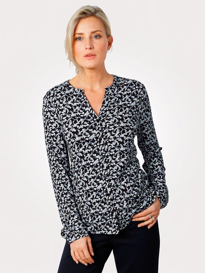 MONA Shirtbluse mit grafischem Muster, Weiß/Marineblau/Blau