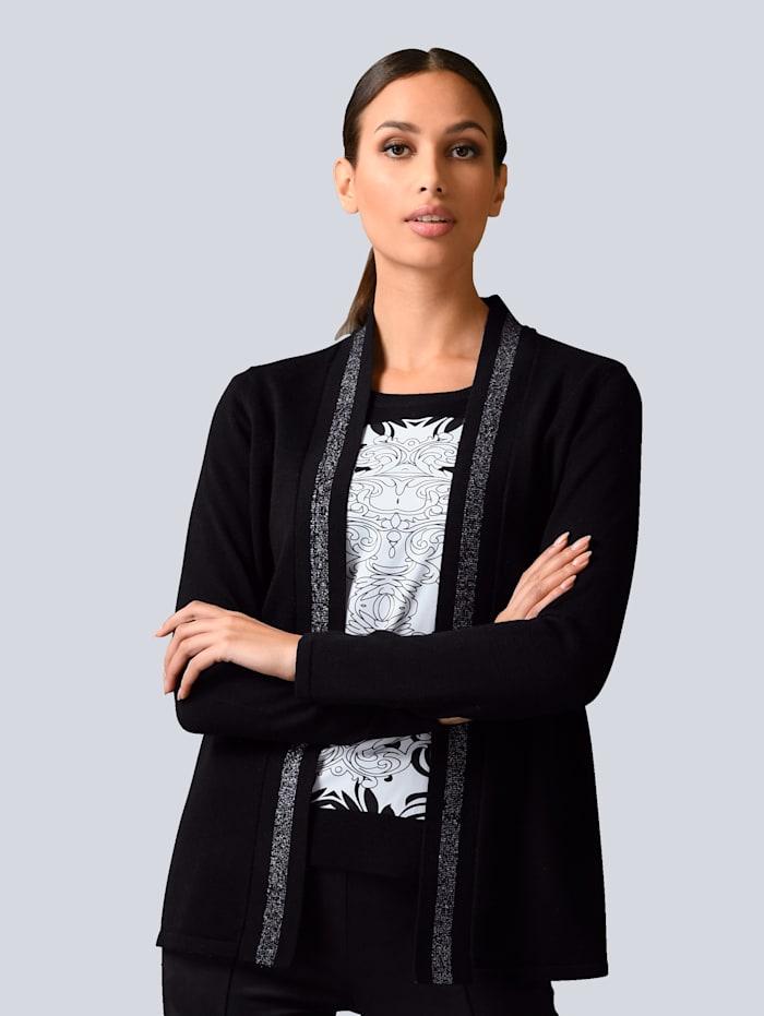 Alba Moda Strickjacke mit Alba Moda exklusivem Dessin, Schwarz/Grau/Weiß