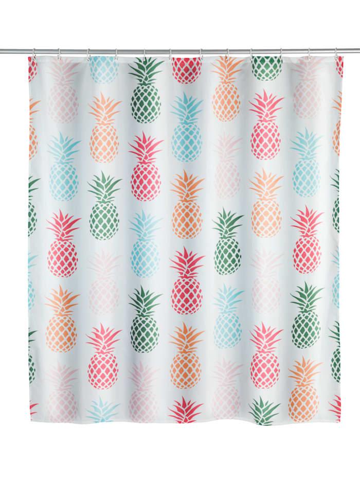 Wenko Duschvorhang Ananas, Textil (Polyester), 180 x 200 cm, waschbar, Mehrfarbig