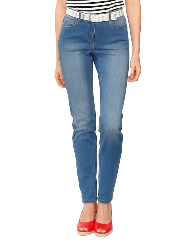 AMY VERMONT Jeans met subtielwashed effect, Light blue