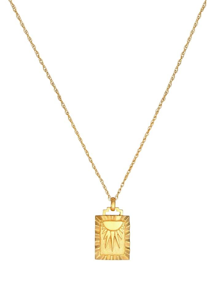 Halskette Sonne Strahlen Münze Rechteck Vintage 925Er Silber