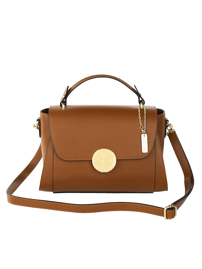 MONA Handbag with a decorative clasp, Cognac