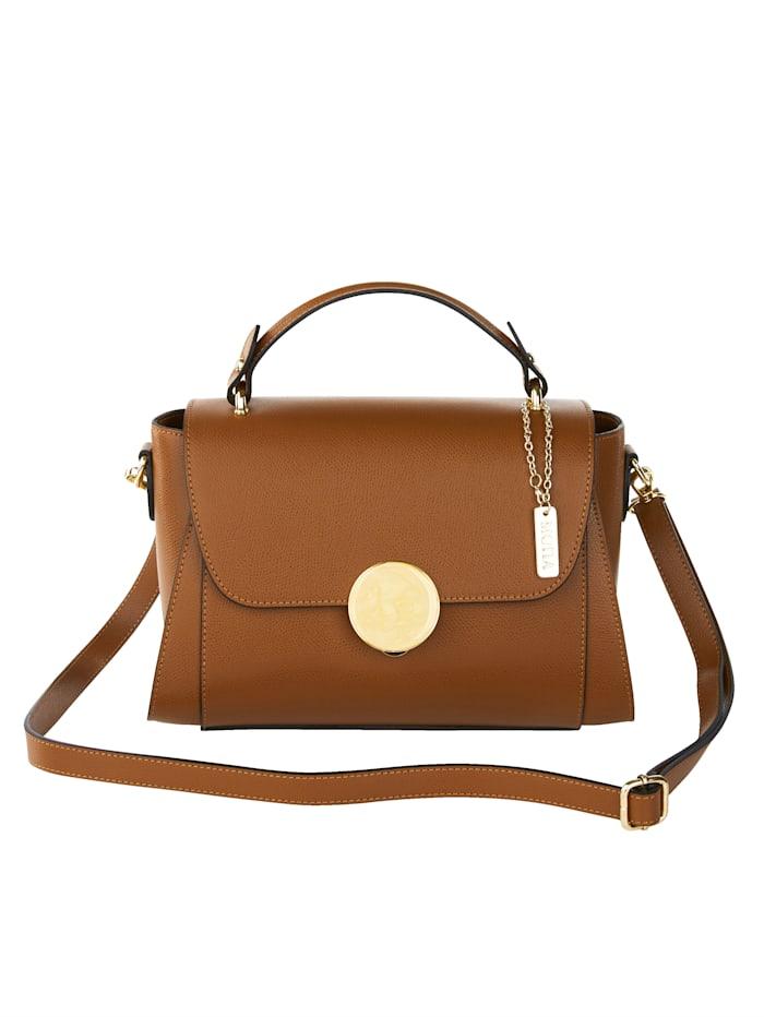 MONA Handtasche mit dekorativem Steckverschluss, cognac