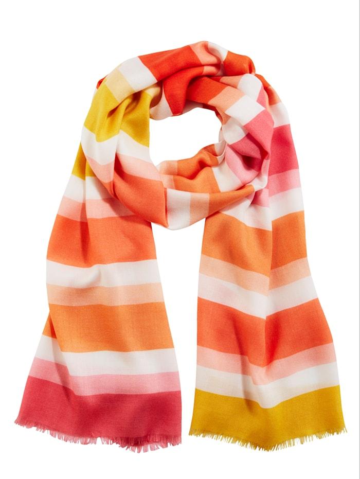 Fraas Schal aus reiner Viskose, Pink/Orange