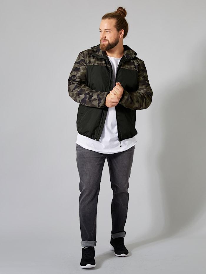 Men Plus Jacke wasserabweisend, Schwarz/Oliv