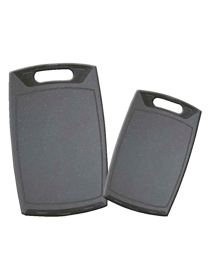Stoneline Set van 2 snijplanken, grijs/zwart