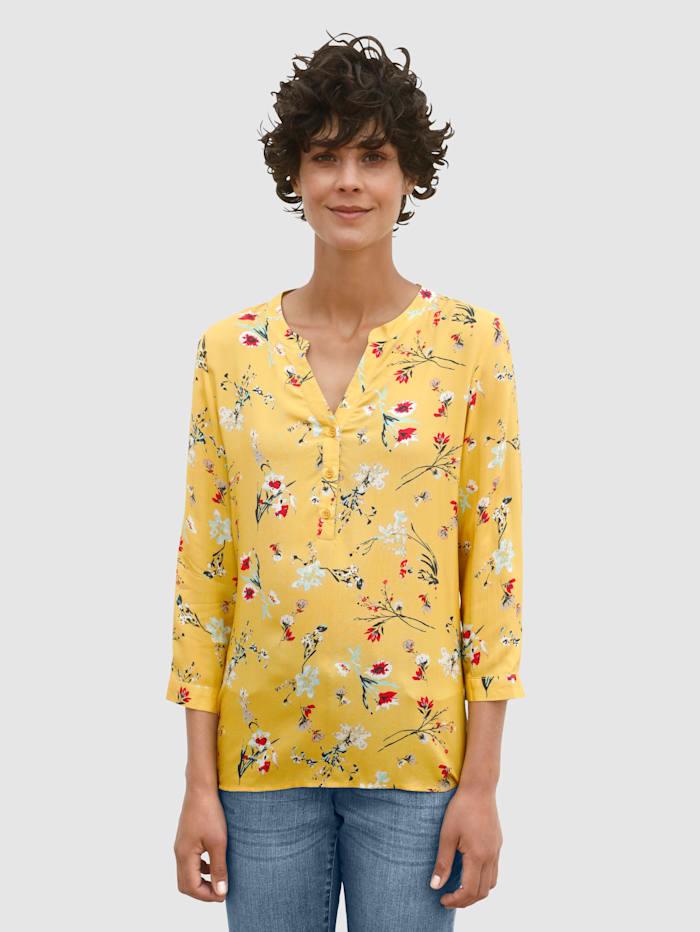 Dress In Bluse mit floralem Print, Senfgelb