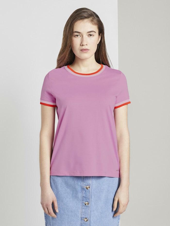 Tom Tailor Denim Jersey T-Shirt mit Kontrast-Details, wild orchid pink
