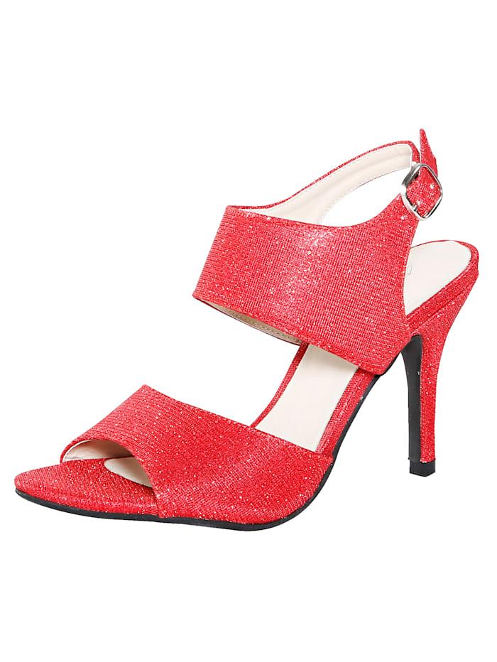 Sandale in schimmernder Optik, Rot