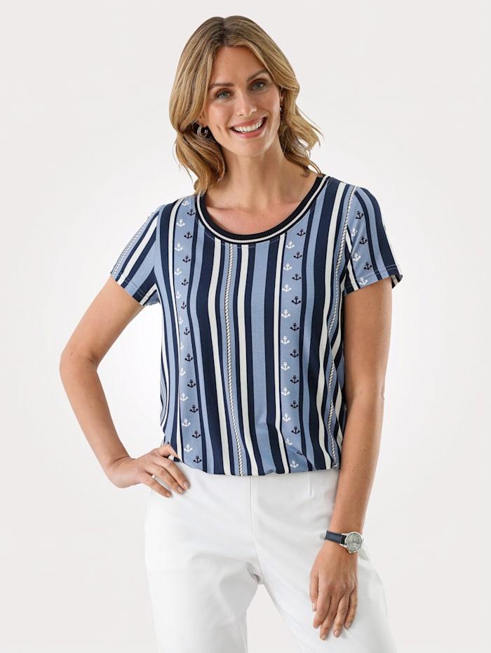 MONA Shirt in maritimen Druck, Marineblau/Hellblau/Ecru