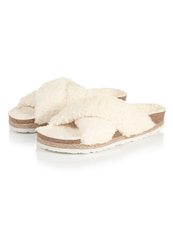 espadrij Pantolette, Creme-Weiß
