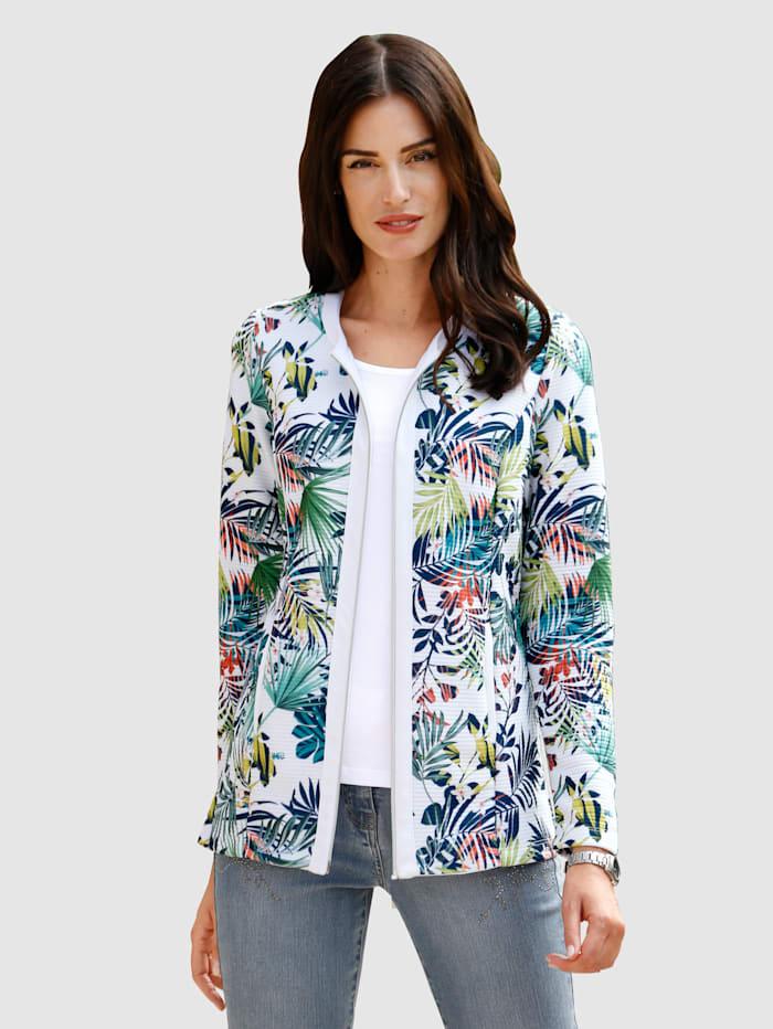 Paola Tričkový kabátek s módním designem potisku, Bílá