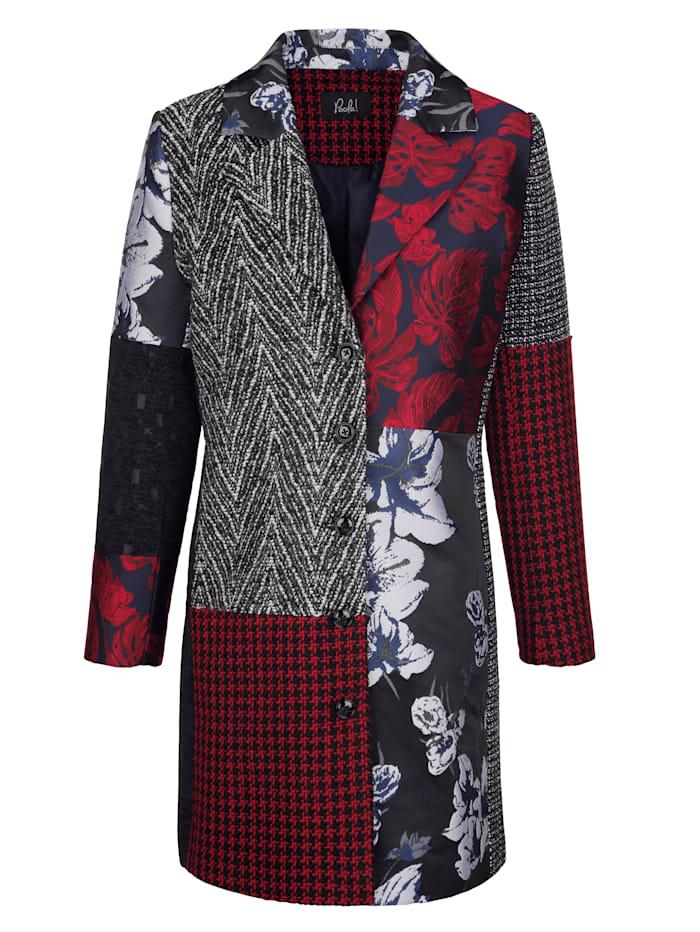 Manteau court à effet patchwork