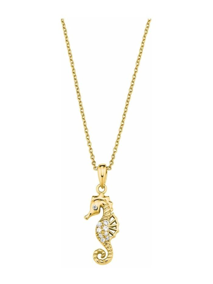 amor Kette mit Anhänger für Damen, Sterling Silber 925, Zirkonia Seepferdchen, Gold