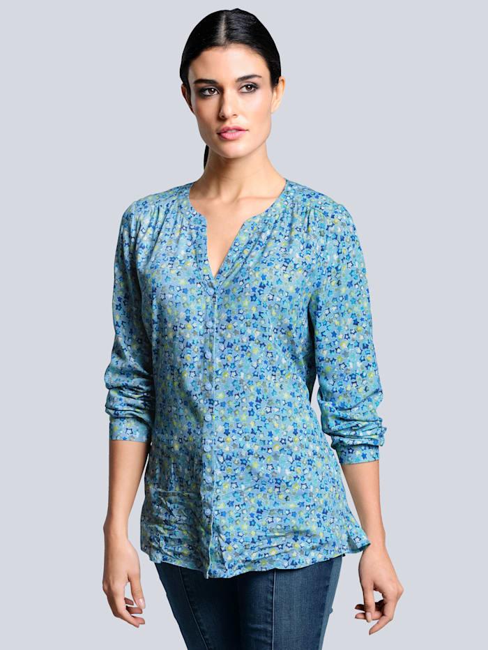 Alba Moda Bluse mit Sternchen-Druck allover, Blau/Mintgrün/Khaki