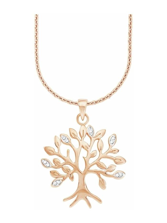 amor Kette mit Anhänger für Damen, Sterling Silber 925, Zirkonia Lebensbaum, Roséfarben